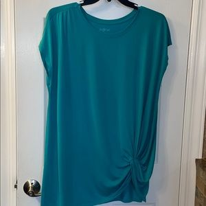 A-Glow Teal Capped Sleeve Top